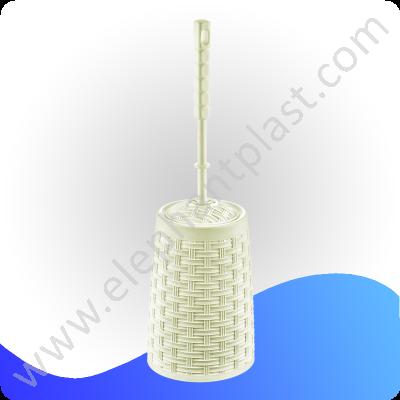 Длинный ёршик для туалета с подставкой плетеный 11118