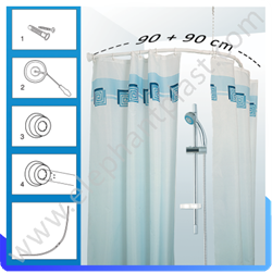 Карниз для ванной комнаты овальный 90 х 90 021