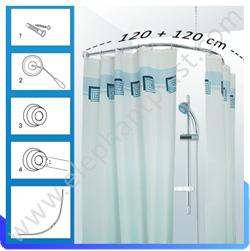 Карниз для ванной комнаты овальный хромированный 120*120 022A